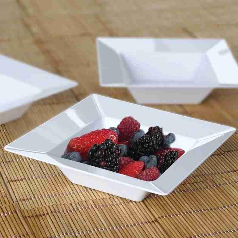 10 pcs 5 oz White Square Plastic Dessert Bowls – Disposable Tableware
