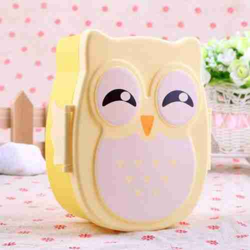 1PC Cute Cartoon Owl Lunch Box Food Container Storage Portable Kids Bento Box – Yellow