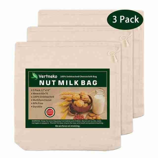 Cotton Nut Milk Straining Bags – 3 Pack
