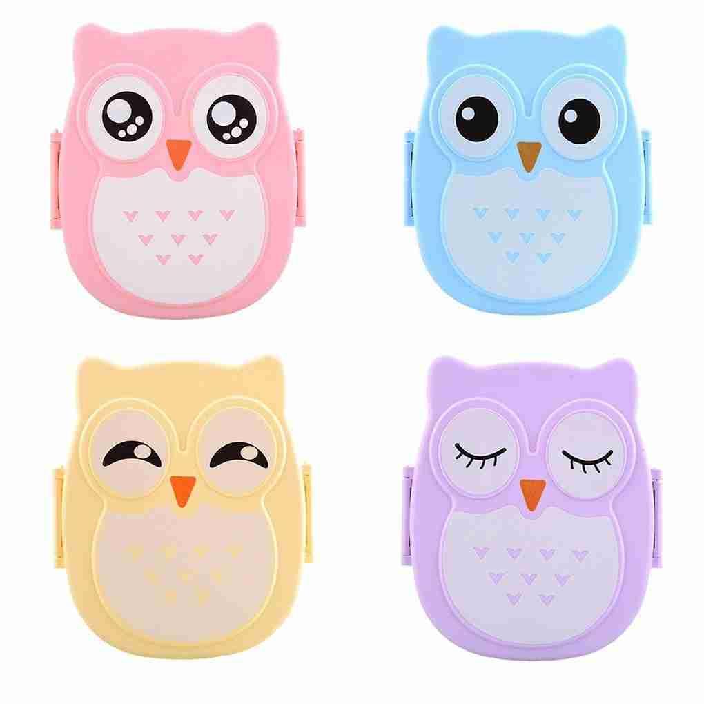 Cute Cartoon Owl Lunch Box – blue