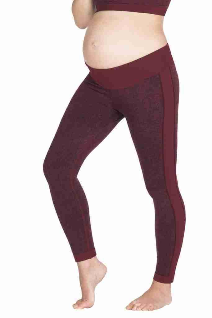 Ella Activewear Seamless Maternity Leggings – S / Burgundy Jacquard