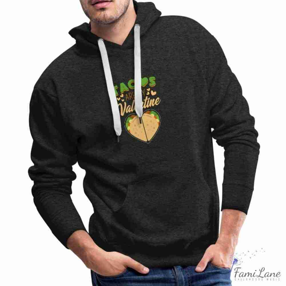 Funny Taco Valentine Mexican Food Hoodie for Mens – charcoal gray / 2XL