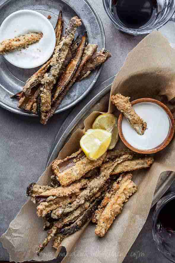Gluten-Free Baked Eggplant Fries with Goat Cheese Dip