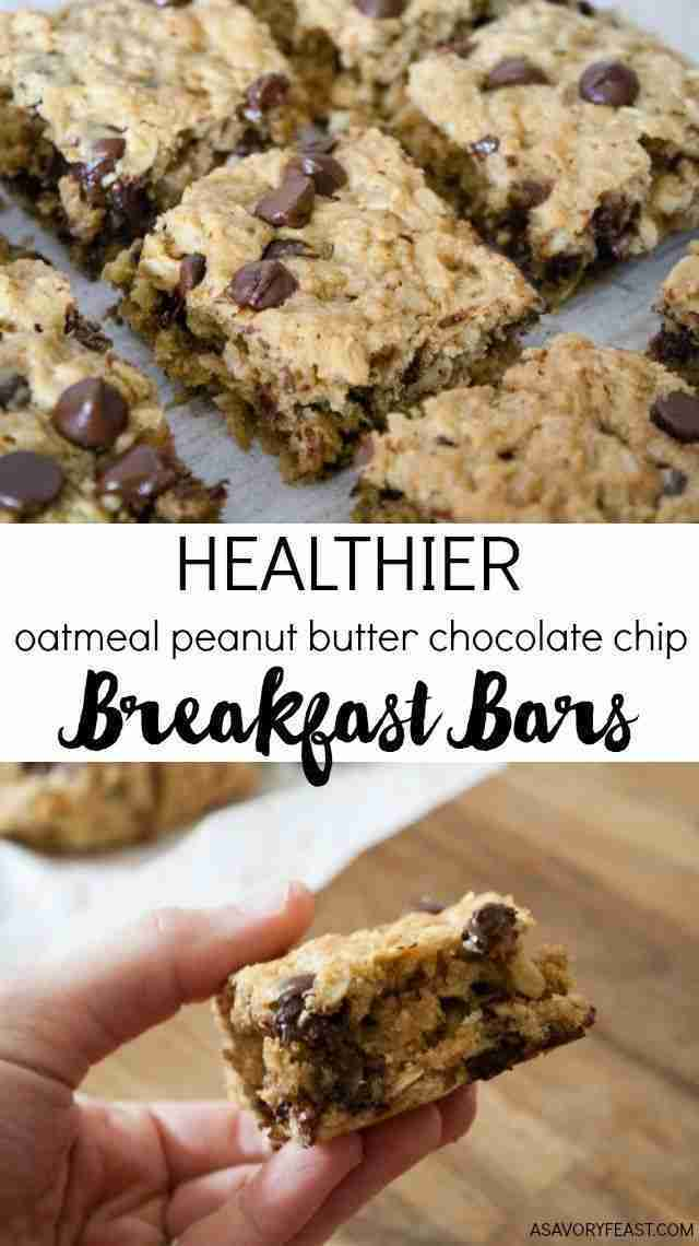 Healthier Oatmeal Peanut Butter Chocolate Chip Breakfast Bars
