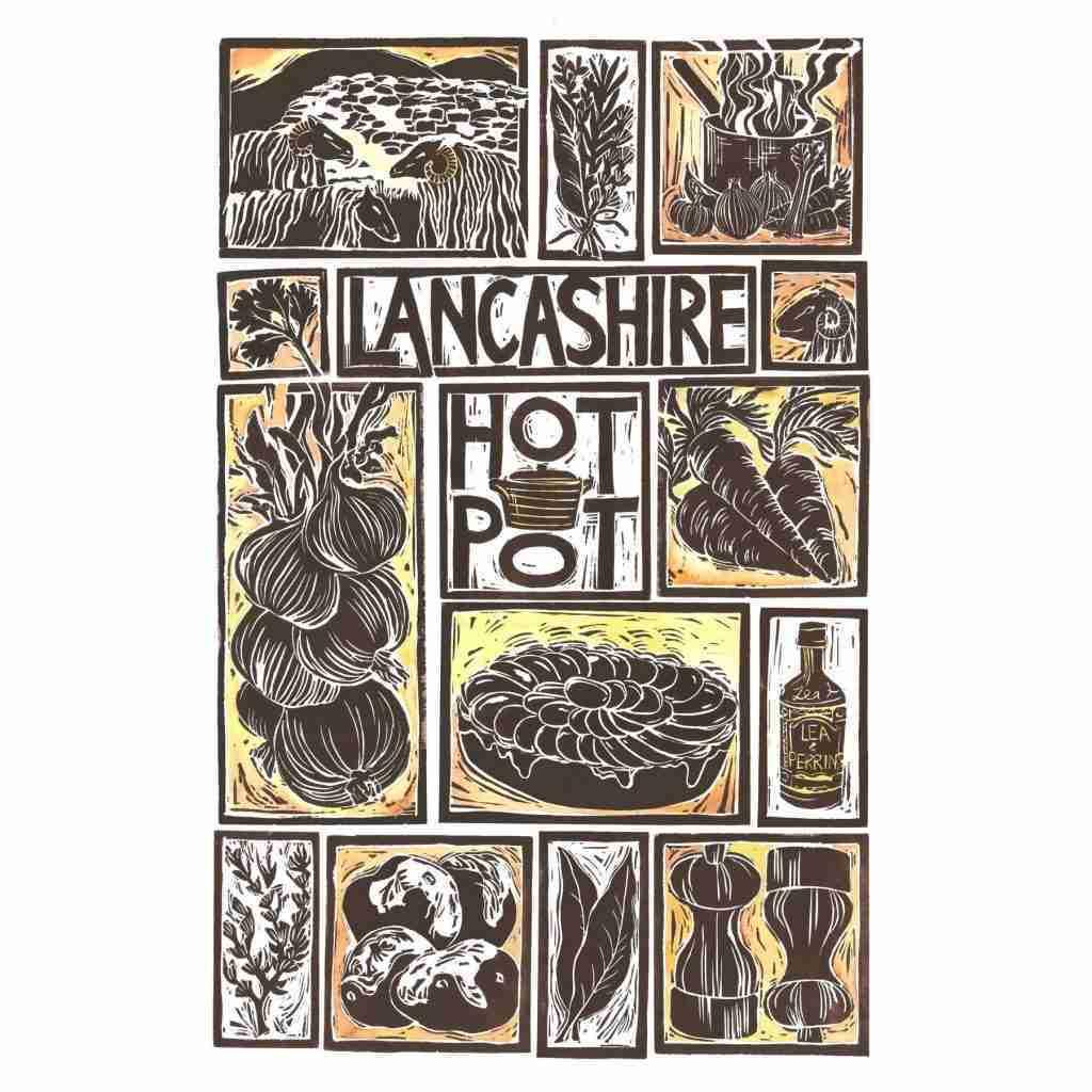 Lancashire Hot Pot Illustrated Recipe Greetings Card