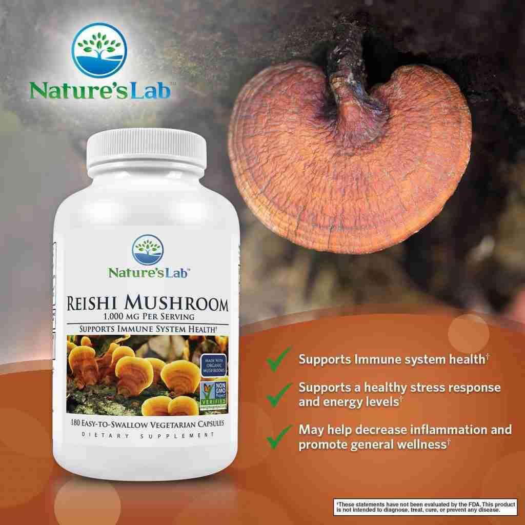 Nature's Lab Organic Reishi Mushroom 1000 mg – 180 capsules