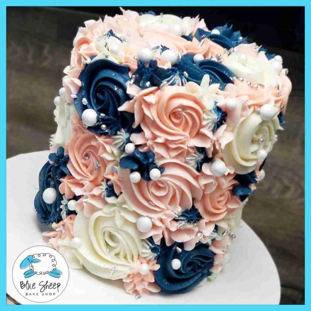 Navy & Blush Buttercream Textures To Go Cake