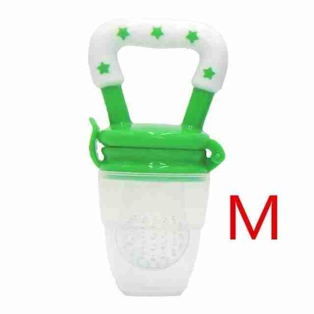 New Fresh Fruit Food Kids Nipple Feeding Safe Milk Feeder for Baby Pacifier Bottles Nipple Teat Nibbler Silicone Baby Bottle – White Green M