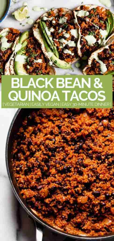 Quinoa Black Bean Tacos (& Cilantro Lime Crema!) – plays well with butter