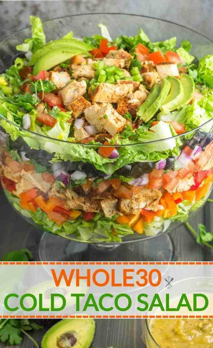 Whole30 Layered Cold Taco Salad
