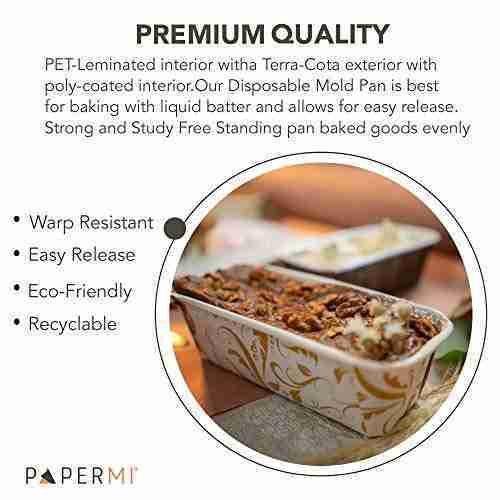 Disposable Paper Loaf Pan, Paper Baking Loft Mold 24ct, All Natural Recyclable, Microwave Oven Freezer Safe, Providing Beautiful Display For Baked Goods 6-1/4″ x 2-1/8″ x 2″ (Bianco Ramage)