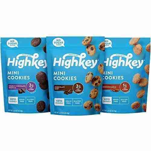 HighKey Snacks Keto Food Low Carb Snack Cookies, Chocolate Chip, 3 Pack – Gluten Free & No Sugar Added, Healthy Diabetic, Paleo, Dessert Sweets, Diet Foods – 3-Pack Variety Pack