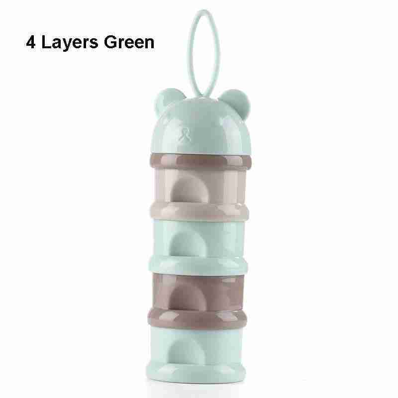 3 / 4 layers Bear Style Portable Baby Food Storage Box Essential Cereal Cartoon Infant Milk Powder Box Toddle Snacks Container – green-4