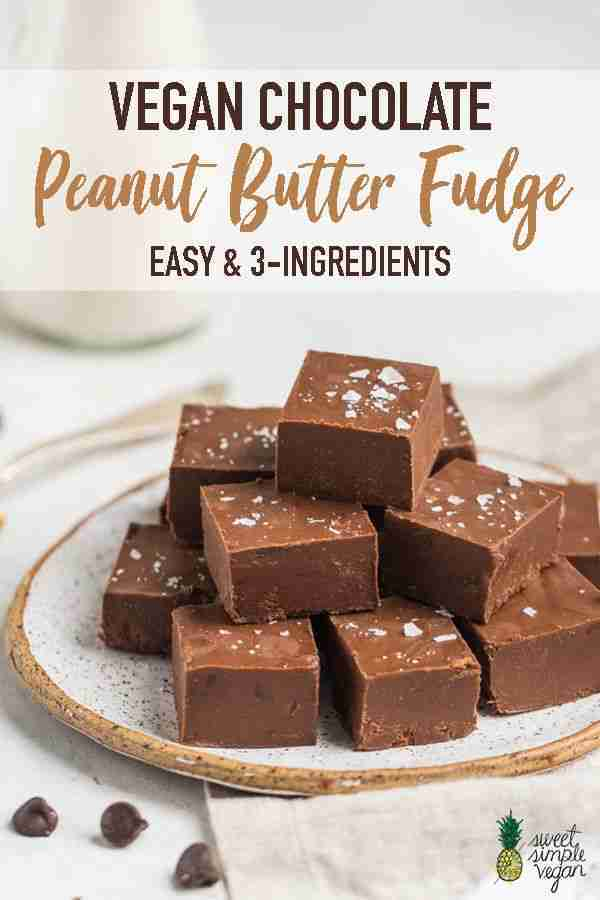 3-Ingredient Chocolate Peanut Butter Fudge (Easy + Vegan)