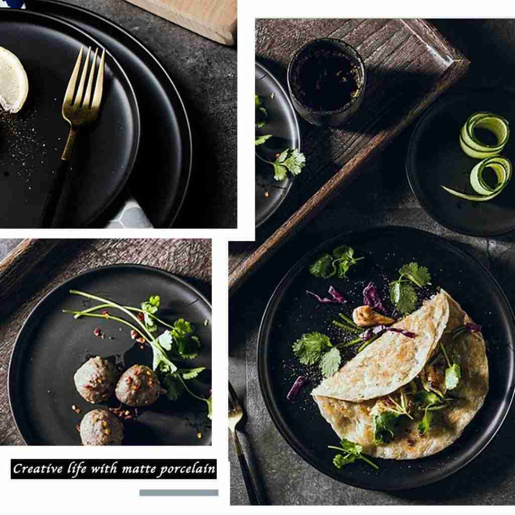 8inch ceramic plates set of 6,black
