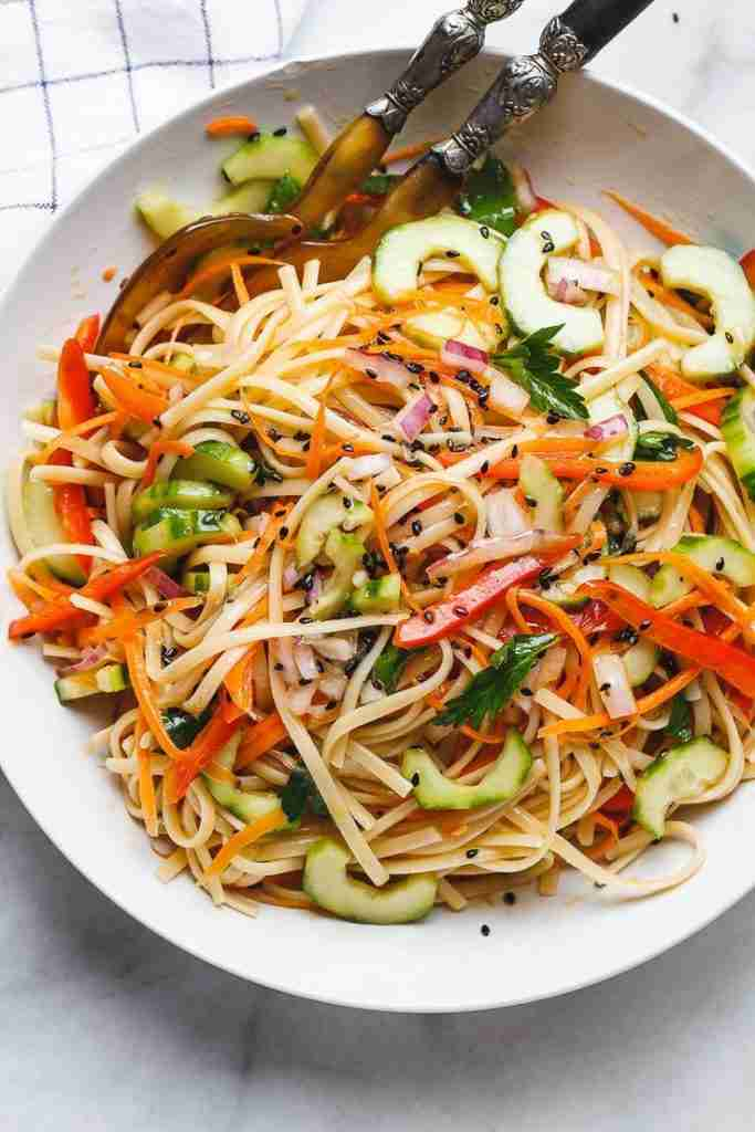 Asian Noodle Salad with the Best Ever Ginger Vinaigrette