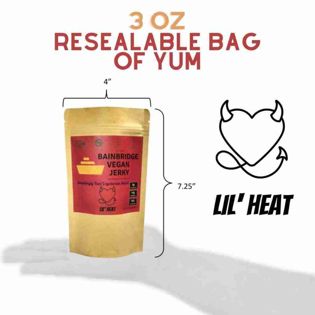 Bainbridge Vegan Jerky – Lil' Heat Vegan Beef Jerky, 3 oz (Pack of 3)