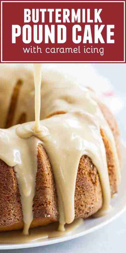 Buttermilk Pound Cake with Caramel Icing