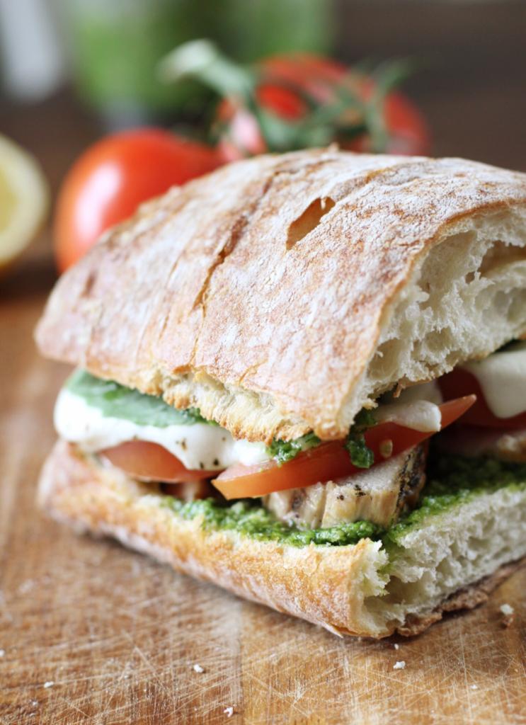 Chicken, tomato, and mozz melt with basil-arugula pesto — The Pastiche