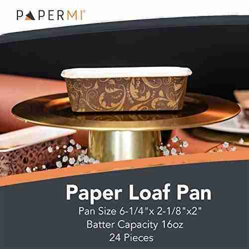 Disposable Paper Loaf Pan, Paper Baking Loft Mold 24ct, All Natural Recyclable, Microwave Oven Freezer Safe, Providing Beautiful Display For Baked Goods 6-1/4″ x 2-1/8″ x 2″ (Marrone Ramage)