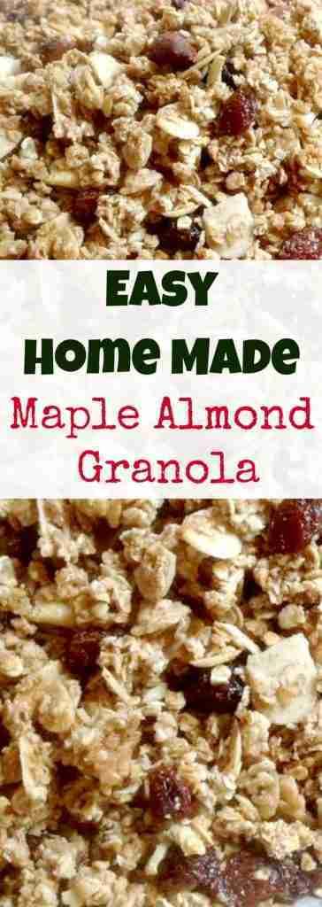 Easy Home Made Maple Almond Granola