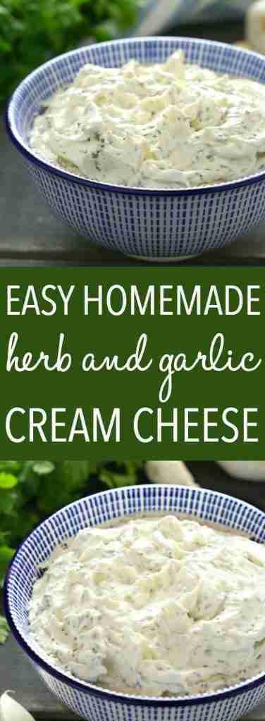 Easy Homemade Herb and Garlic Cream Cheese