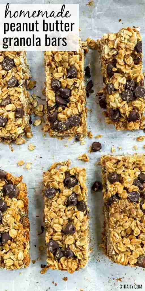 Healthy Peanut Butter Granola Bars with Chocolate Chips