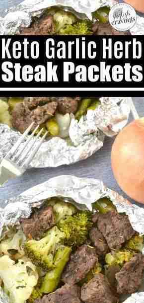 Keto Herb and Garlic Steak Packets #keto #ketodiet #foilpacketrecipes #ketorecip…
