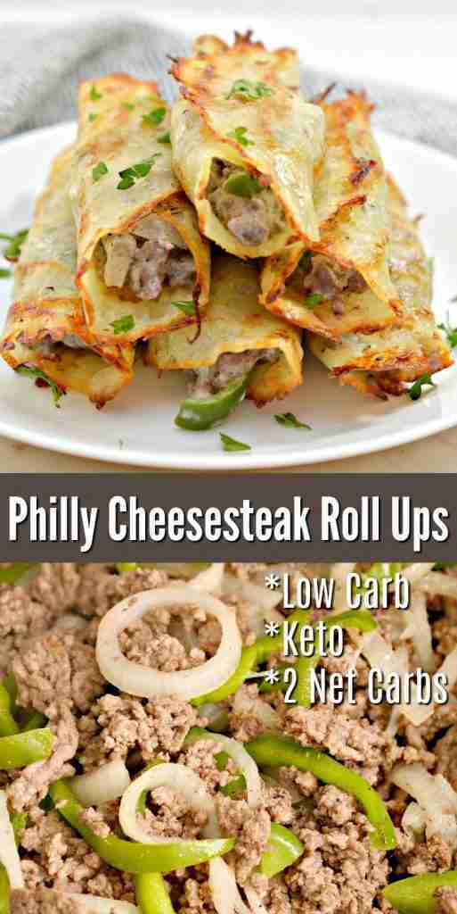 Low Carb Philly Cheesesteak Roll Ups