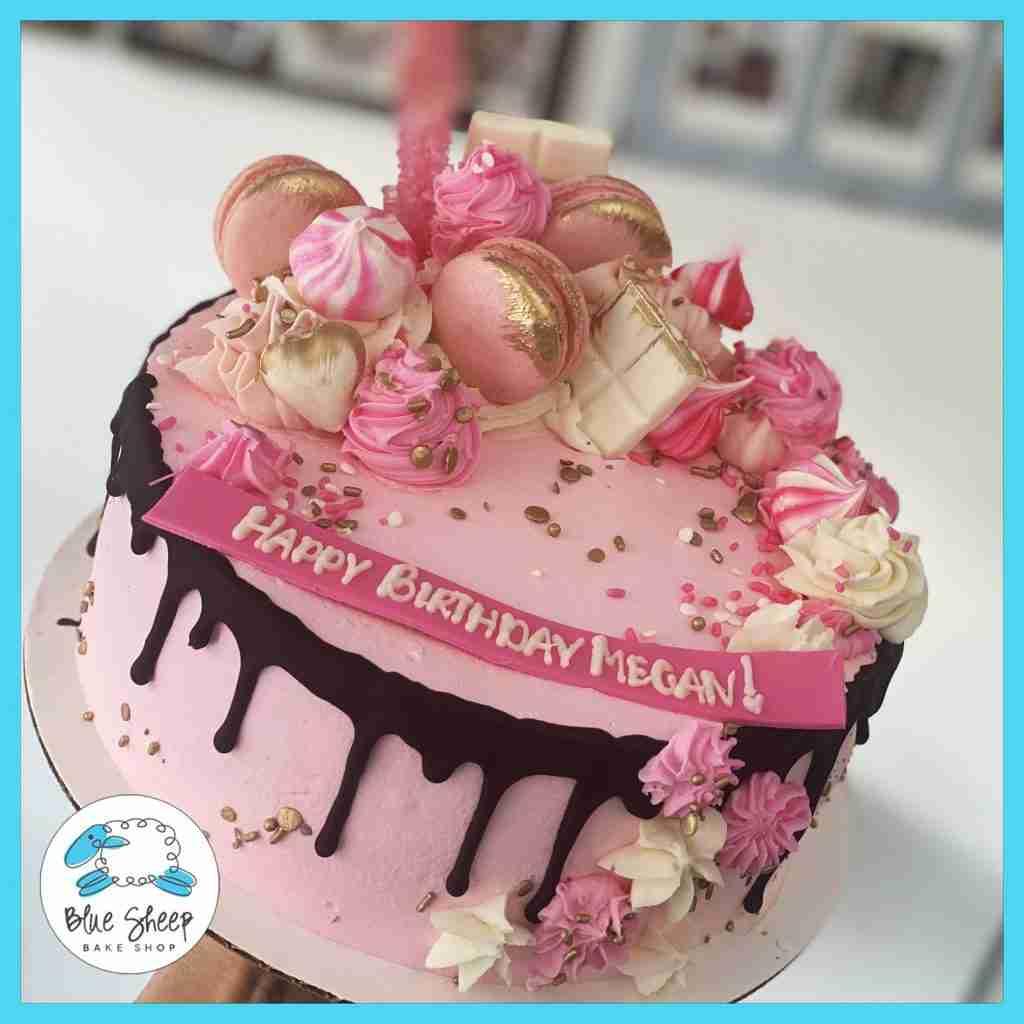 Megan's Pink & White Ice Cream Drip Cake