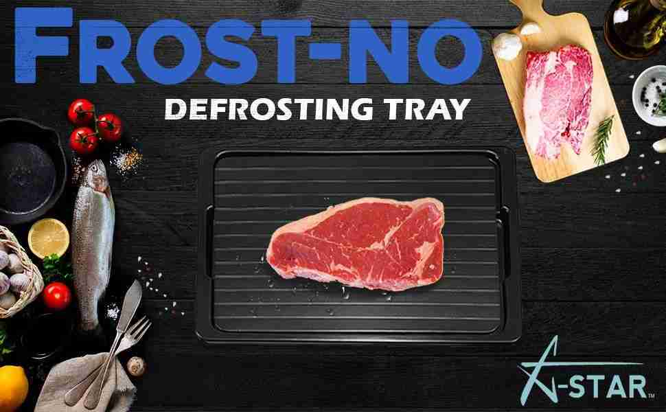 New Defrosting Tray For Rapid Thawing Frozen Food – FROST-NO Meat Defroster Thaw Tray With Silicone Sponge And Brush