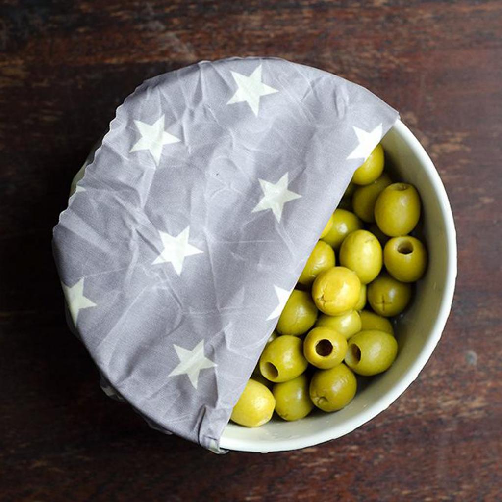 Pack of 3 Oliwrap Vegan Wax Wraps – Grey Star by Rowen Stillwater
