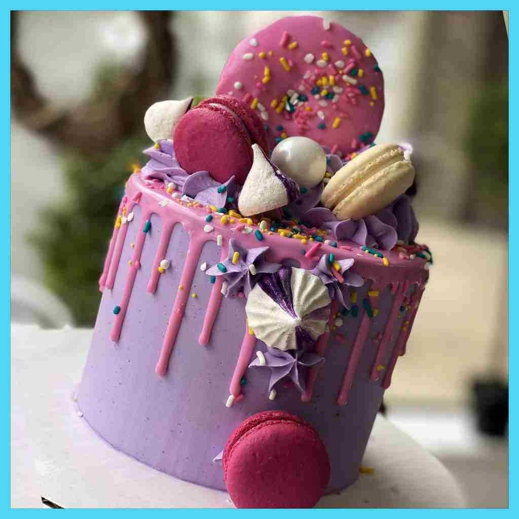 Purple and Pink Donut Bakery To Go Cake