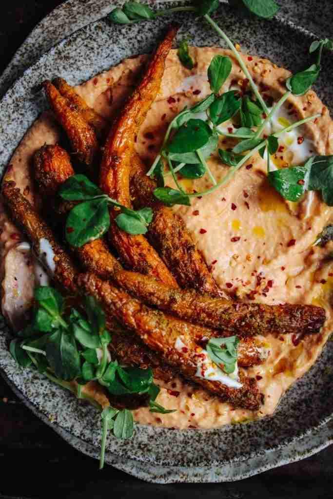 Roast tandoori Carrots on Butter bean & Tomato dip – Rebel Recipes