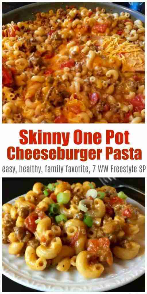 Skinny Cheeseburger Pasta One-Pot Skillet   Simple Nourished Living