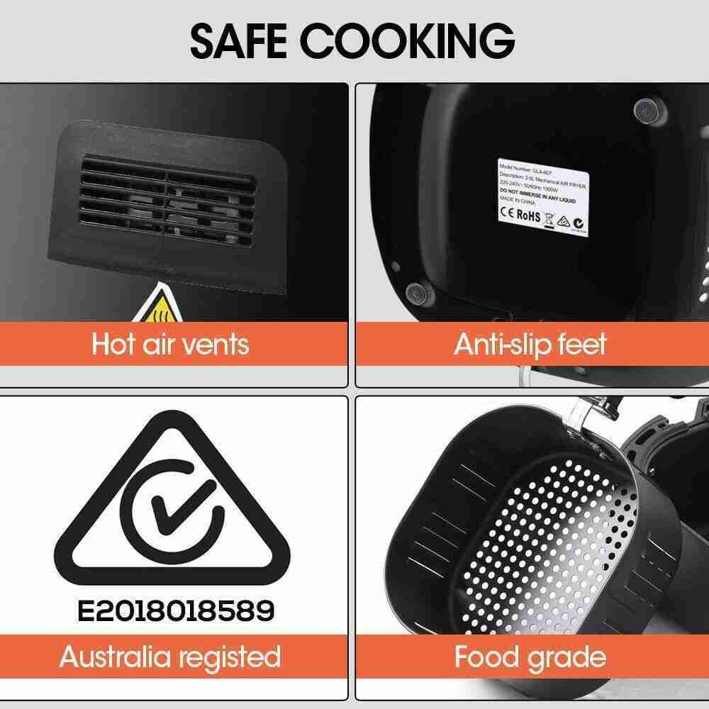 Spector New 7L Air Fryer LCD Health Cooker Low Oil Rapid Deep Frying 1800W Black