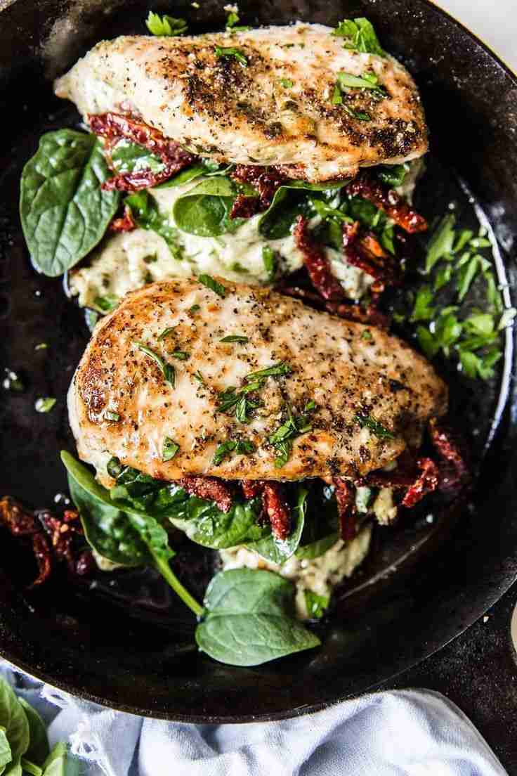 Stuffed Chicken Breast with Spinach, Cheese and Sun-Dried Tomatoes | The Modern Proper