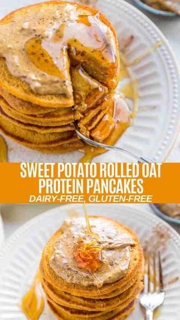 Sweet Potato Rolled Oat Protein Pancakes