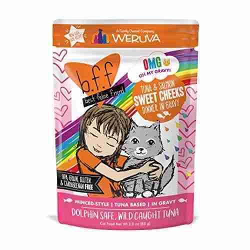 Weruva B.F.F. OMG – Best Feline Friend Oh My Gravy! Grain-Free Natural Wet Cat Food Pouches, Original Tuna Recipes in Gravy – Tuna & Salmon Sweet Cheeks / 3-Ounce Pouch (Pack of 12)