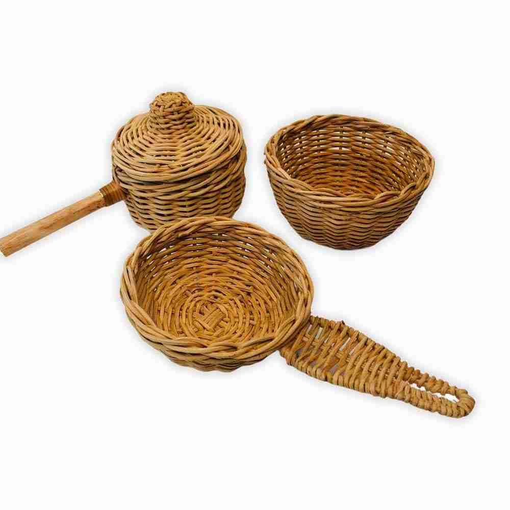 handmade rattan wicker cooking set for kids (wholesale)