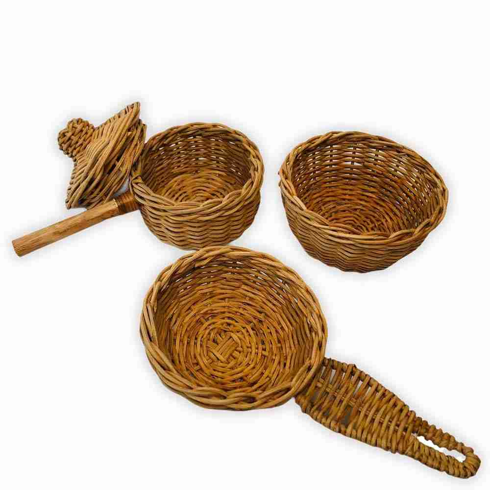 handmade rattan wicker cooking set for kids