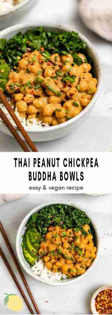 20 Minute Peanut Chickpea Veggie Bowl | Eat With Clarity