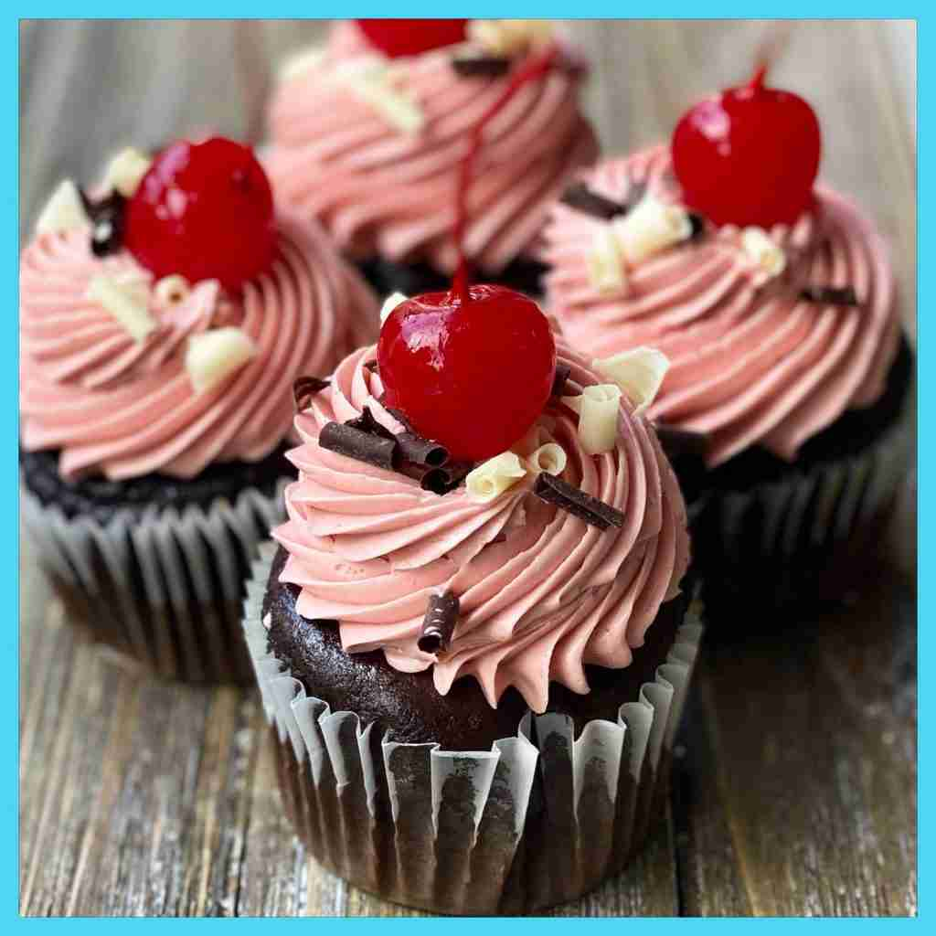 Bailey's Chocolate Cherry Cupcakes (filled)
