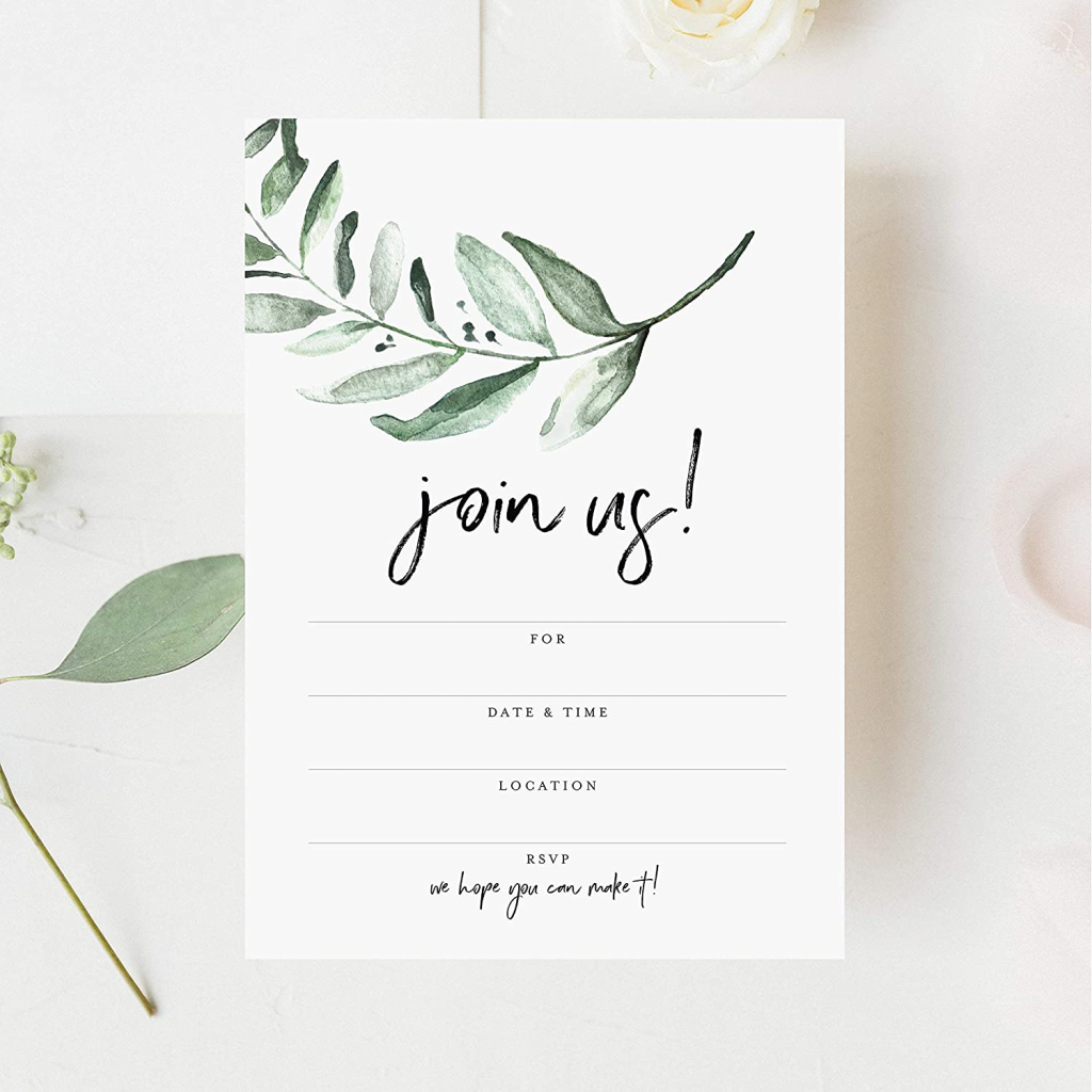 Bliss Collections 25 Invitations with Envelopes for All Occasions, Greenery Invites Perfect for: Weddings, Bridal Showers, Engagement, Birthday Party or Special Event, Fill in Rustic Invites