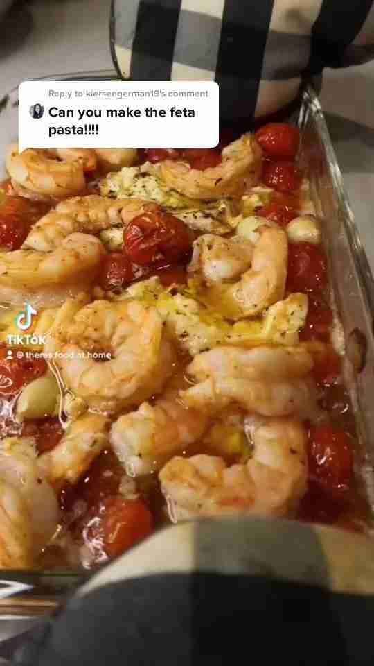 Easy Baked Shrimp Feta Pasta