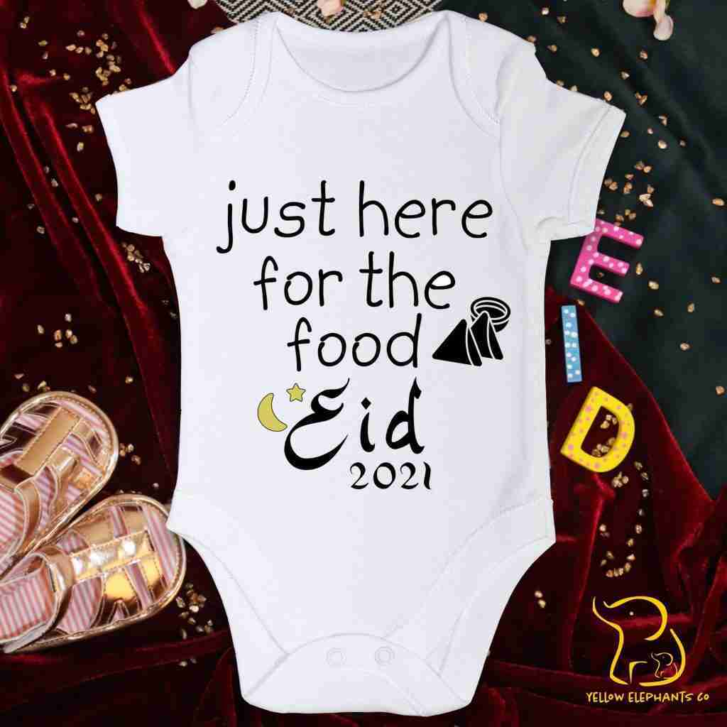 Eid – Just Here For The Food Baby Bodysuit – 12-18 MONTHS