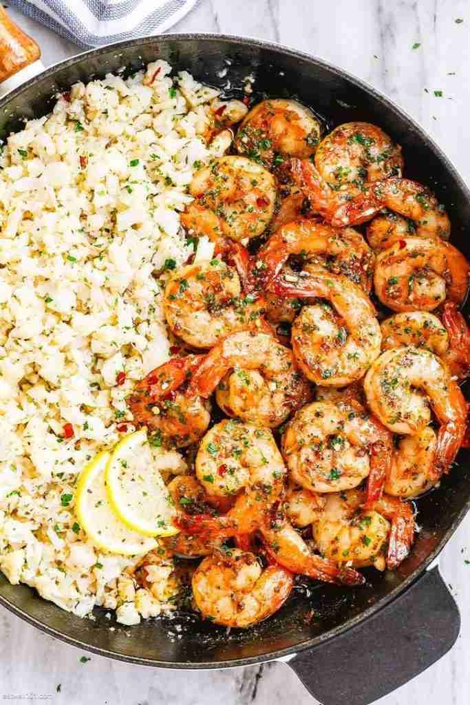 Garlic Butter Shrimp with Lemon Parmesan Cauliflower Rice