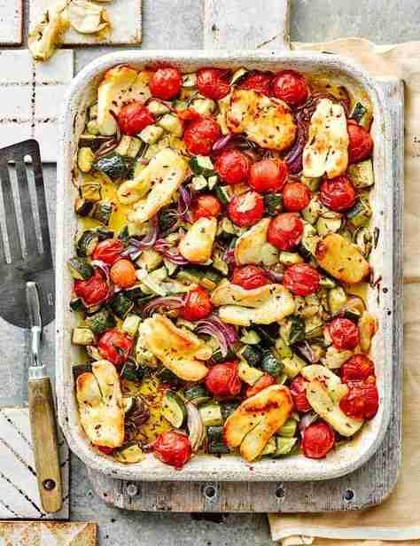 Halloumi and Mediterranean veg traybake