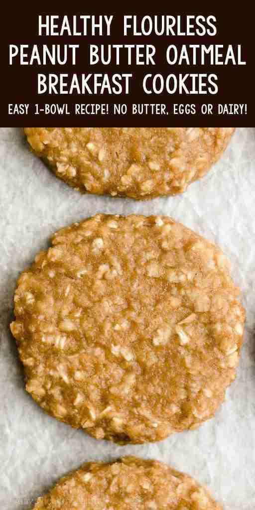 Healthy Flourless Peanut Butter Oatmeal Breakfast Cookies {Easy Eggless & Dairy-Free Recipe!}