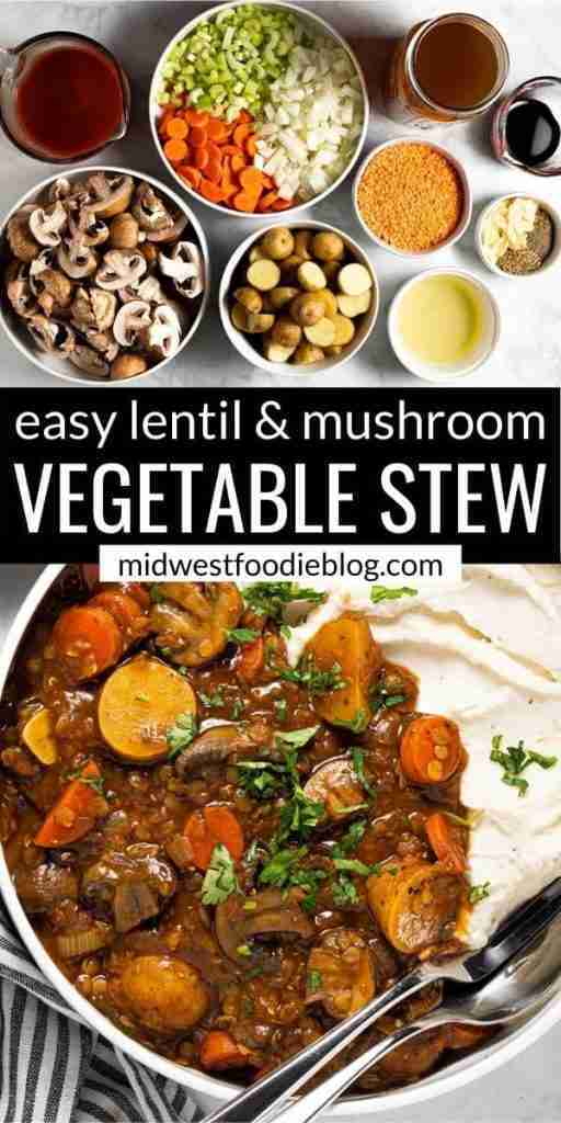 Hearty Vegan Lentil Mushroom Stew